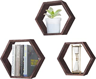 Rustic Wall Mounted Hexagonal Floating Shelves – Set of 3 – Large, Medium and Small – Screws and Anchors Included - Farmhouse Shelves for Bedroom, Living Room and More – Honeycomb Wall Décor - Torched