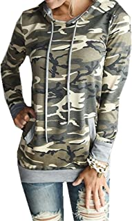 Taiduosheng Women's Long Sleeve Soft Pocket Hoodies Camouflage Print Pullover Hooded Sweatshirt