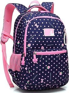 Kid Girl School Backpack Water Resistant Elementary Dot Bookbag with Chest Strap (RoyalBlue)