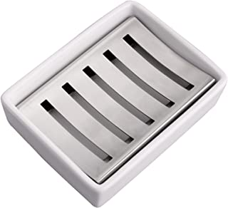 IMEEA Ceramic Soap Dish Holder SUS304 Stainless Steel Soap Holder for Barthroom Shower Double Layer Draining Soap Box Esse...