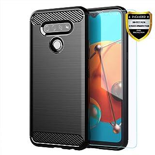 LG K51 case,LG Reflect case with HD Screen Protector,MAIKEZI Soft TPU Slim Fashion Non-Slip Protective Phone Case Cover for LG K51(Black Brushed TPU)