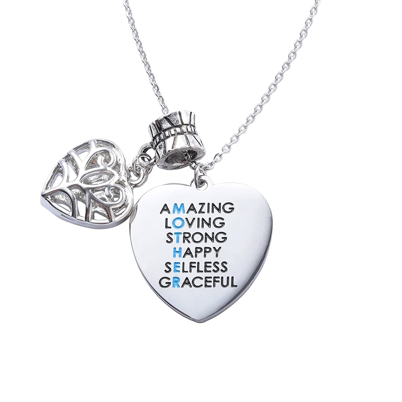 ELOI Amazing Mom Stainless Steel Necklace Heart Charm Pendant Jewelry me1900126263534