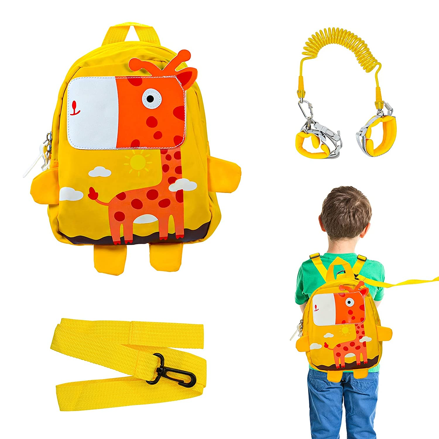 3PCS Toddlers Child Leash Backpack Set, Anti Lost Wrist Link with Key Lock, Baby leashes for Toddlers, Kids Walking Wristband Safety Harness Leash and Cute Giraffe Bag for Walking Baby, Boy, Girl