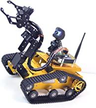 Upgraded WiFi Smart Robot Car Kit for Raspberry Pi, Gold Robot Tank Chassis, 2DOF Hd Camera, 4DOF Robot Arm, Remote Contro...