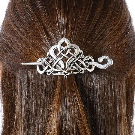 Viking hairstyle accessory silver-colored interlacing pattern VIKING hair brooch Celtic Nordic - Bar metal