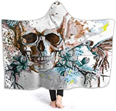 ZHONGKUI Colorful Skull Wearable Blanket Ultra Soft Hooded Cloak Flannel Fleece Hooded Throw Blanket Quilt Use - Small 50x...