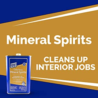 Klean Strip Odorless Mineral Spirits Cleans up Interior Jobs, No Harsh Fumes- Thins Oil Base Paint- Cleans Paint Brushes and Tools, 1 Quart
