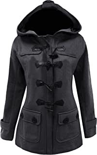Meaneor Women's Plus Size Jacket Duffle Style Toggle Hoodie Pea Coat Top
