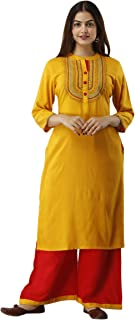 UrbanEra Women's Rayon Embroidered Yellow Kurta with Palazzo Set