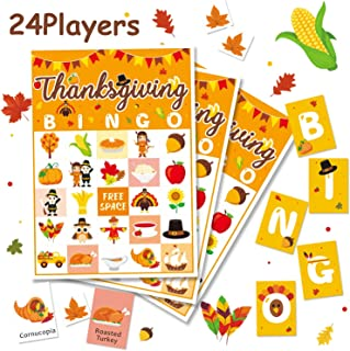 Levfla Thanksgiving Bingo Game Kids Fall Family Reunion Craft Fun Dinner Table Activity Holiday Party Bash Ideas for 24 Players No DIY Required