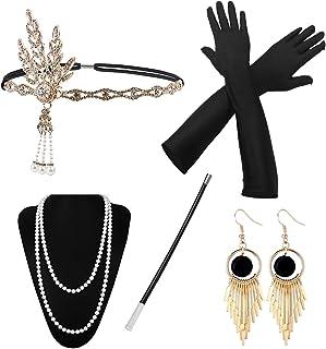1920 Accessories, HG POWER Années 1920 Accessoires Gatsby Costume Set Bandeau Flapper, Charleston Accessoires Collier, Gan...