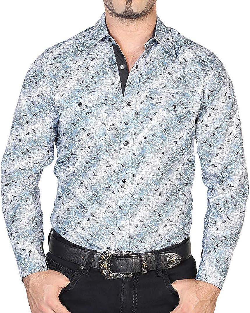 El Señor de los Cielos Men's Western Cowboy Shirt Long Sleeve Grey/Black Button Down Camisa Vaquera