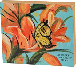 """Primitives by Kathy Friendship Heart Gallery Block Sign, 7"""" x 6"""", Be Happy Be Bright Be You"""