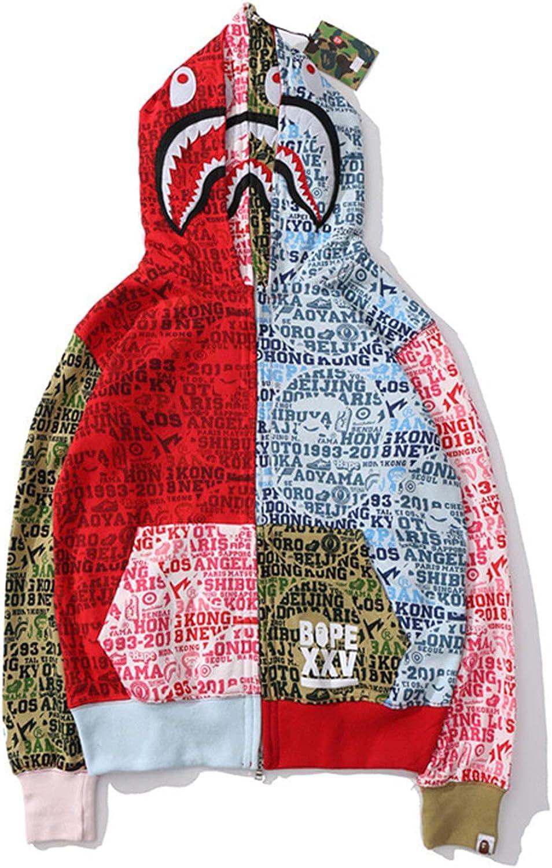 Shark Men's Hoodie Camo Shark Head Hip Hop Sweatshirt Zipper Camouflage,Red,XL