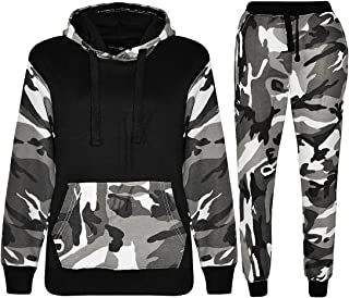 b8ba95fe26879 Kids Sports Military Camouflage Hododied Tracksuit 2 piece Contrast
