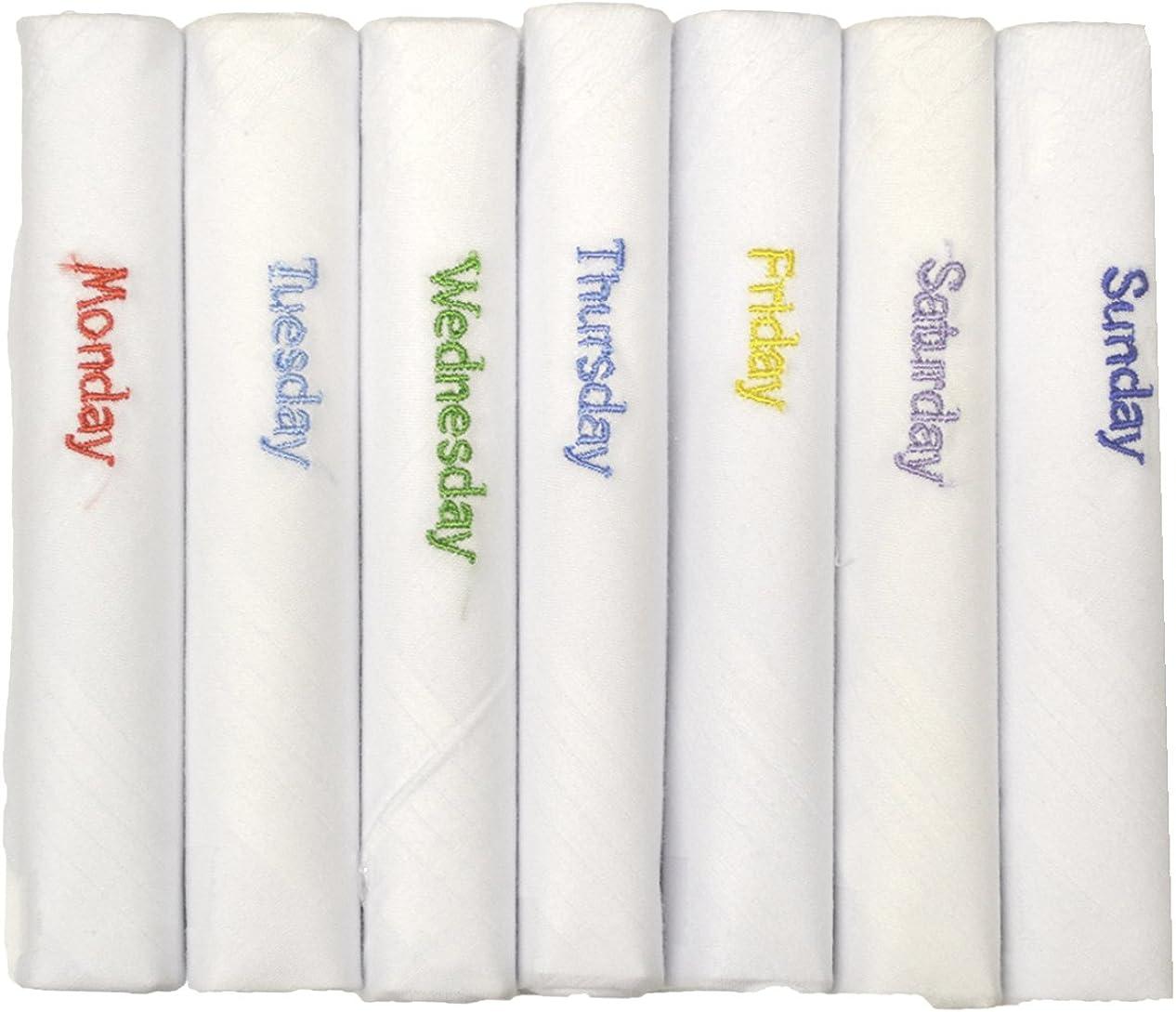 ETHO Set Of 7 100% Pure Cotton Handkerchiefs Days Of The Week Design
