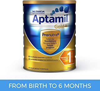 Aptamil Gold+ 1 Infant Formula for Birth to 6 Months Babies, 900g
