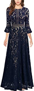 MISSMAY Women's Vintage Full Lace Contrast Bell Sleeve Formal Long Dress
