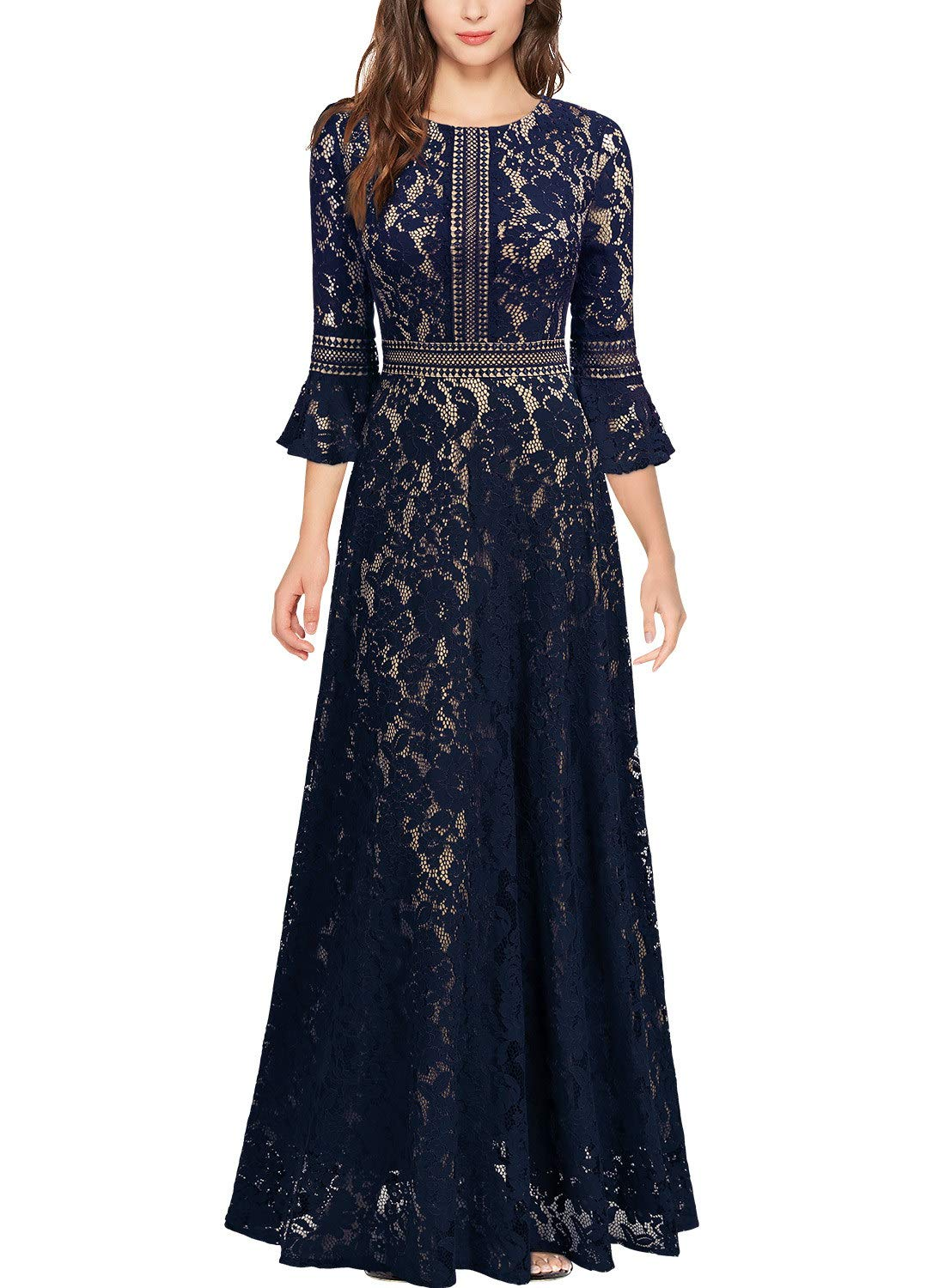 Mother Of The Bride Dresses - Women's Vintage Full Lace Contrast Bell Sleeve Formal Long Dress