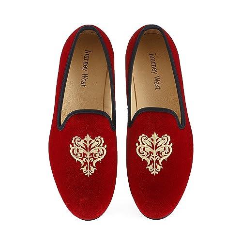 837102fe6c49c Men's Vintage Velvet Embroidery Noble Loafer Shoes Slip-on Loafer Smoking Slipper  Black/Red