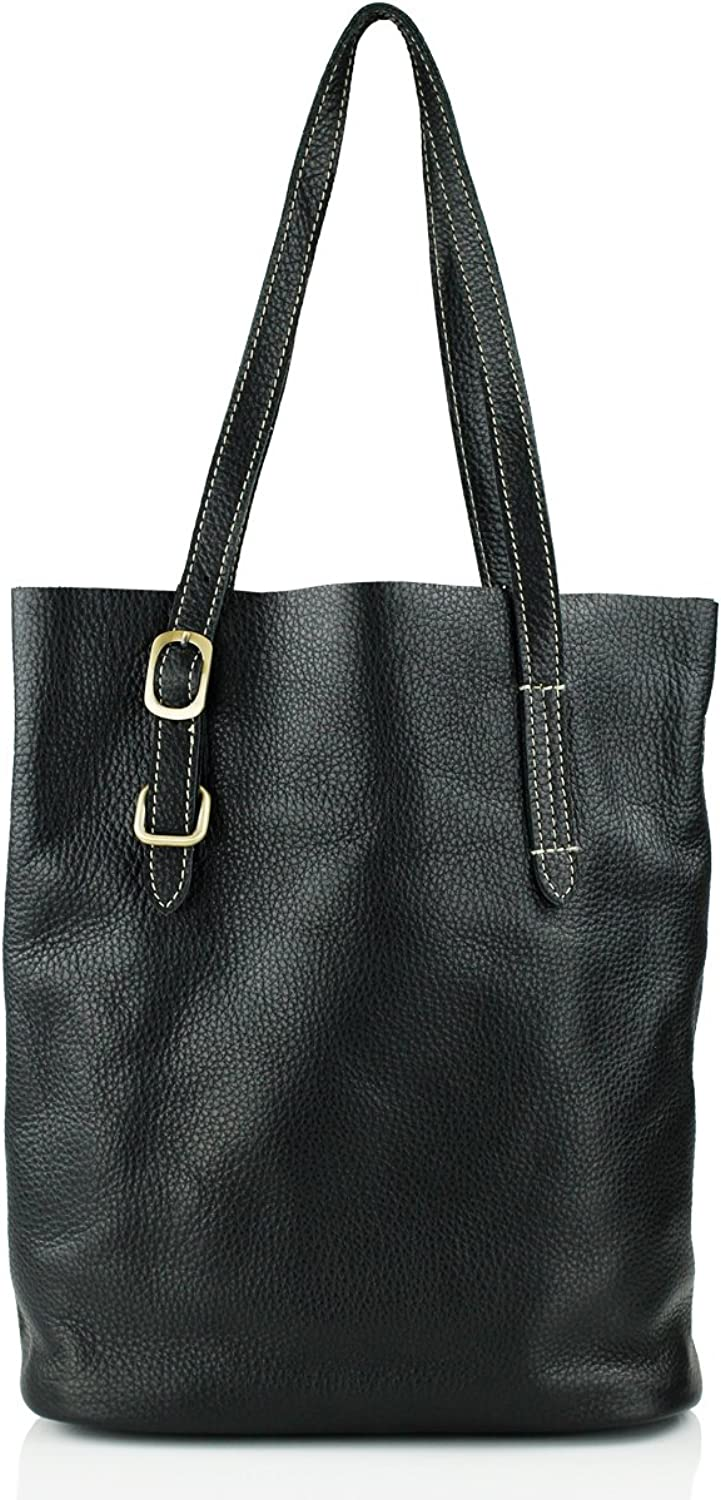 UER Women's Pebbled Cow Leather Tote Bag with Detachable Inner Bag