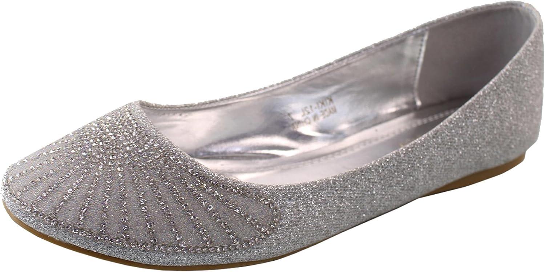 DBDK Women's Crystal Rhinestone Jewel Metallic Glitter Round Toe Ballet Flat