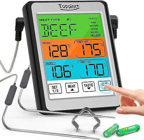 Termómetro digital para carne, termómetro de alimentos de doble sonda con pantalla táctil para cocinar, termómetro de...