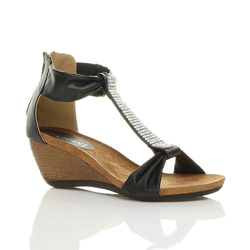 c308a0d5c86f Ajvani Womens ladies mid heel footbed wedge zip t-bar diamante summer  sandals shoes size