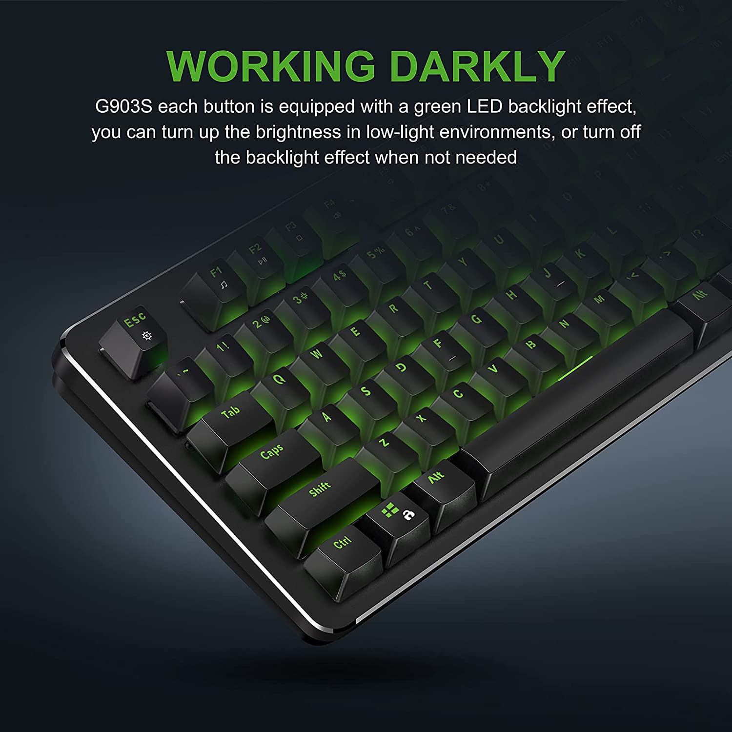 Fuhlen G903S Mechanical Keyboard with Detachable Wrist Rest - Silence Cherry MX Blue Switches - Green Backlight - 100% Anti-Ghosting for Windows PC (Black)