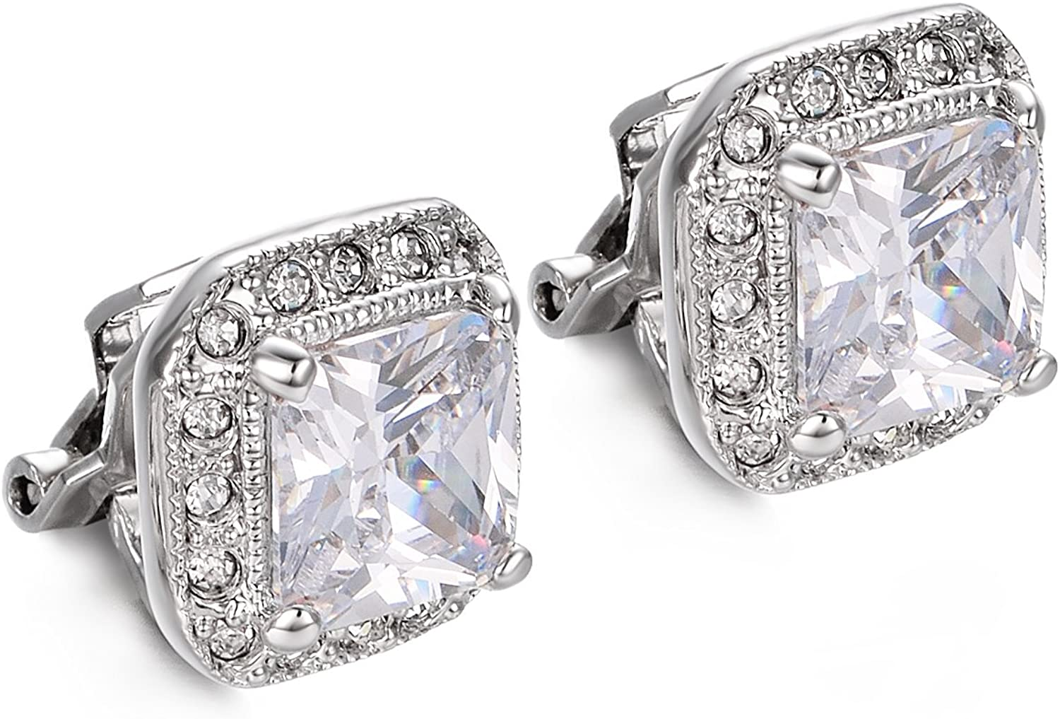 Yoursfs Vintage Clip on Earrings for Women 18K Gold Plated Halo Austria Crystal Non Pierced Earring
