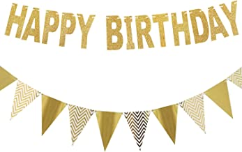 Redear Gold Happy Birthday Banner, Glitter Pennant Banner Sparkly Triangle Flags Bunting for Birthday Decorations