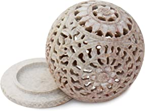 Frescorr (TM) - Soapstone Tealight Candle Holder Sphere,4