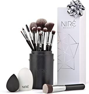 Niré Beauty Makeup Brush Set: Make up Brushes with Brush Case, Beauty Blender and Cleaner
