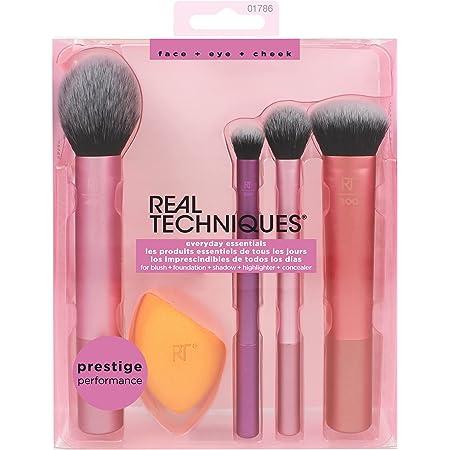 Real Techniques Makeup Brush Set with Sponge Blender for Eyeshadow, Foundation, Blush, and Concealer, Set of 5