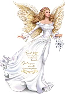 The Hamilton Collection Dona Gelsinger Angel Figurine Carries Glass Star with Swarovski Crystal