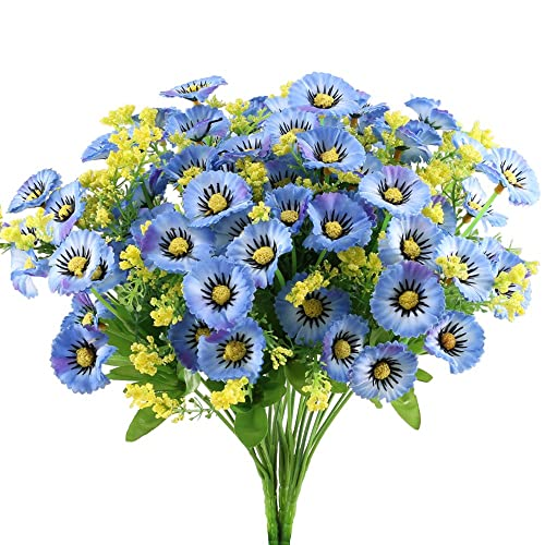 GTIDEA Artificial Daisy Flowers Bushes 4pcs Silk Floral Bundles Faux Plants Arrangement Fake Shrub Indoor Outside