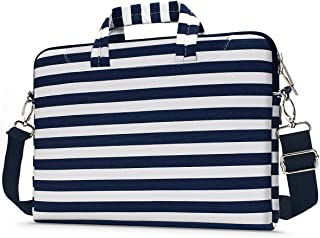 MOSISO Laptop Shoulder Bag Compatible with 13-13.3 inch MacBook Pro, MacBook Air, Notebook with Back Trolley Belt, Canvas Pattern Carrying Handbag Briefcase Sleeve Case Cover, Navy Blue Stripe