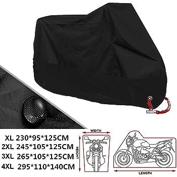 295 x 110 x 140 cm Rusee XXXL Coprimoto Telo Moto Motociclo Copri Scooter Impermeabile Antipolvere Anti UV Traspirante Universale Coprimoto Motociclo Nero