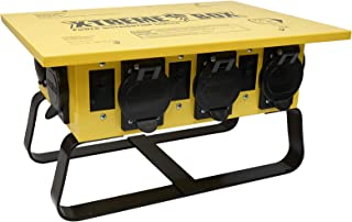 Southwire 019703R02 19703R02 Distribution Featuring 6 Straight Blade 1 Twist-Lock 30 Receptacle A Stackable, Portable Power Distributor Box for 50 amp, 125/250 Volt, 12,000 Watt, Yellow