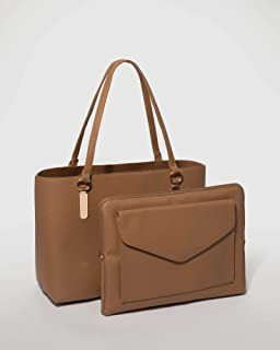 Tan Angelina Tote Bag With Gold Hardware