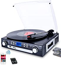 DIGITNOW Bluetooth Record Player with Stereo Speakers, Turntable for Vinyl to MP3 with Cassette Play, AM/FM Radio, Remote ...
