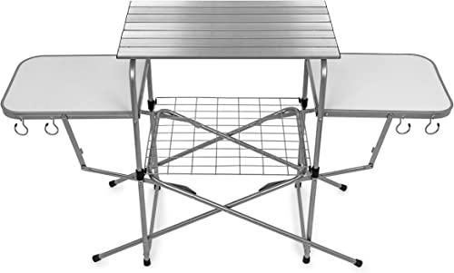 wholesale Camco Deluxe Folding Grill Table, Great for Picnics, Tailgating, Camping, RVing and Backyards; Quick Set-up popular and Folds Down new arrival to Only 6 Inches Tall for Convenient Storage (57293) outlet online sale