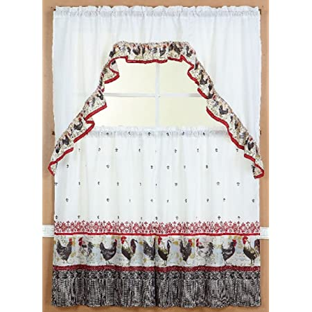 3 Pcs Kitchen Curtain with Swag and Tier Window Treatment Set-Paris Eiffel Tower