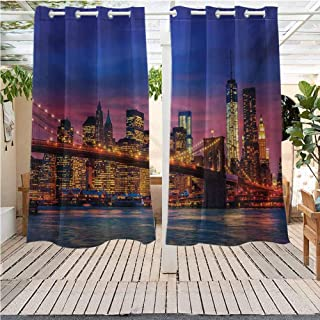 DONEECKL New York IKEA Outdoor Curtains NYC That Never Sleeps Reflections on Manhattan East River City Image Photo Print Grommet Curtains for Bedroom W63 x L63 inch Pink Blue
