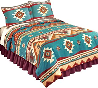 Collections Etc Southwest Cheyenne Aztec Native American Turquoise Fleece Lightweight Coverlet, Antique Brown, Twin