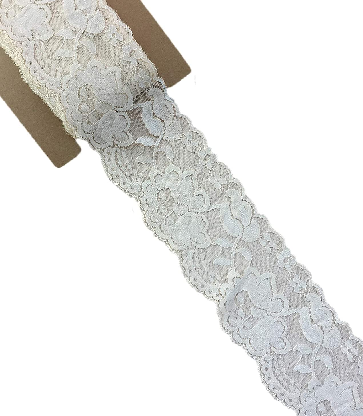 Lace Realm 3.15 Inches Wide×10 Yards Stretch Floral Pattern Lace Ribbon Trim Lace for Headbands Garters & Crafts (Pearled Ivory)