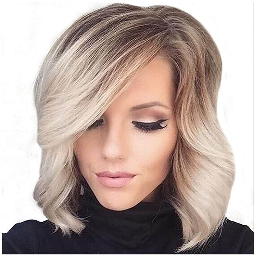 愛撫クリーク怠なかつら 女性のための人工毛髪のかつら斜め前髪付き小髪かつら耐熱性ファイバー20cm / 30cm(シルバーグレー、グラデーションシルバーグレー)ファッションかつら (色 : Gradient silver grey)