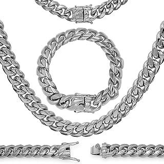 BEBERLINI كوبية سلسلة ارتباط الفضة كبح قلادة 30 بوصة سوار 9.5 بوصة الفولاذ المقاوم للصدأ الأزياء والمجوهرات للرجال 6 مم - ...