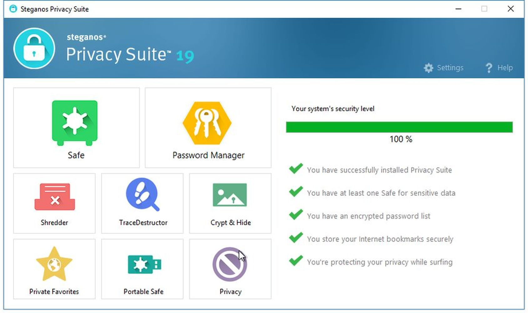 Steganos Privacy Suite 19 - Digital Safe and Password management for Windows 10|8|7 [Download]