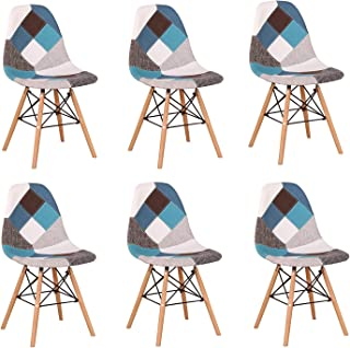 BenyLed Lot de 6 Chaises de Salle à Manger Rétro Patchwork Chaise (Bleu-06)